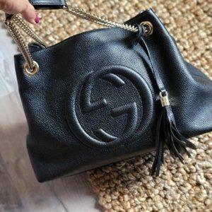 GUCCI Soho Disco Chain Tassel Leather Tote Bag